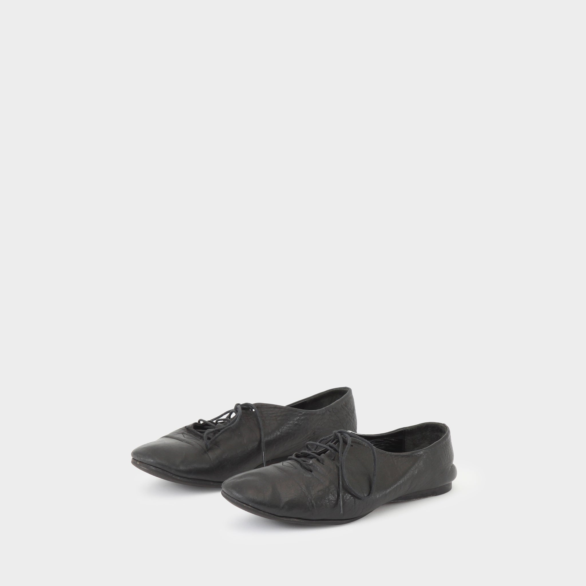 Yohji Yamamoto Black Leather Lace-up Flats