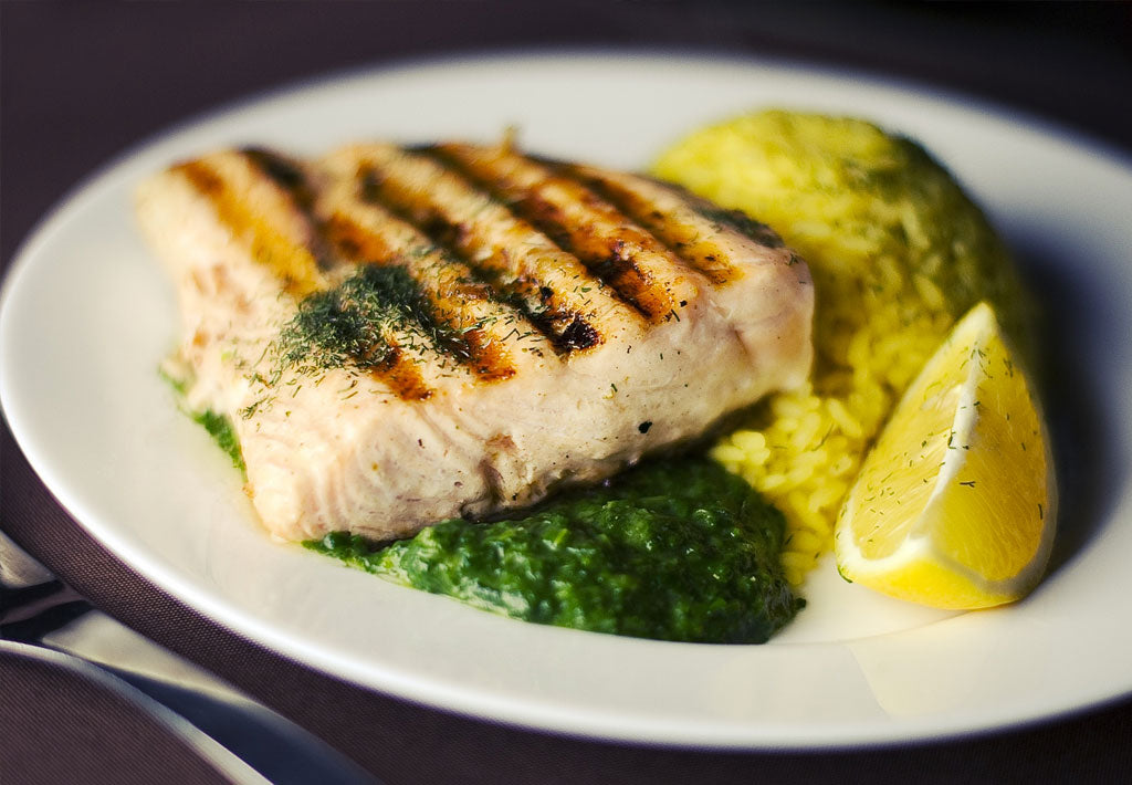 Gluten Free Chargrilled Salmon with Basil Pesto & Lemon Rice Recipe