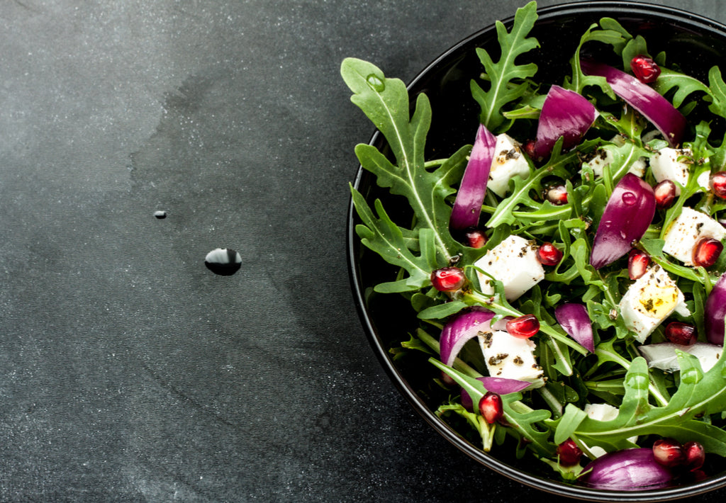 Gluten Free Rocket Salad with Feta Cheese, Red Onion and Pomegranate Salad