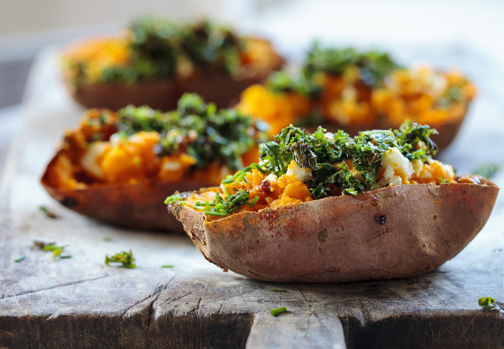 Gluten Free Loaded Sweet Potatoes Boats with Feta and Kale