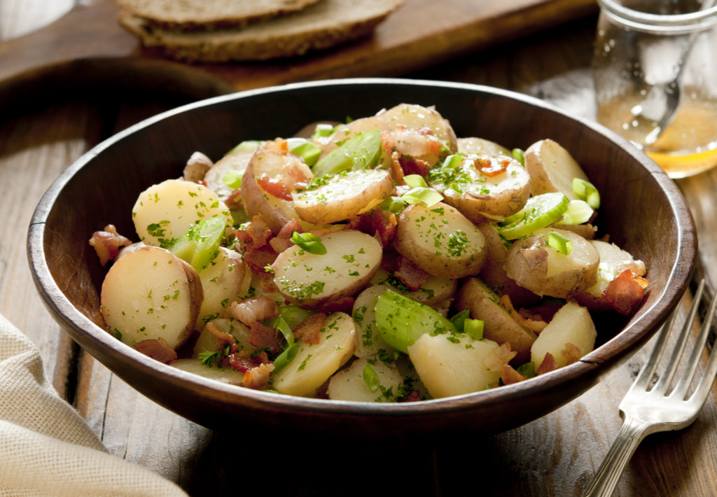 Gluten Free New Potato, Bacon and Spring Onion Salad
