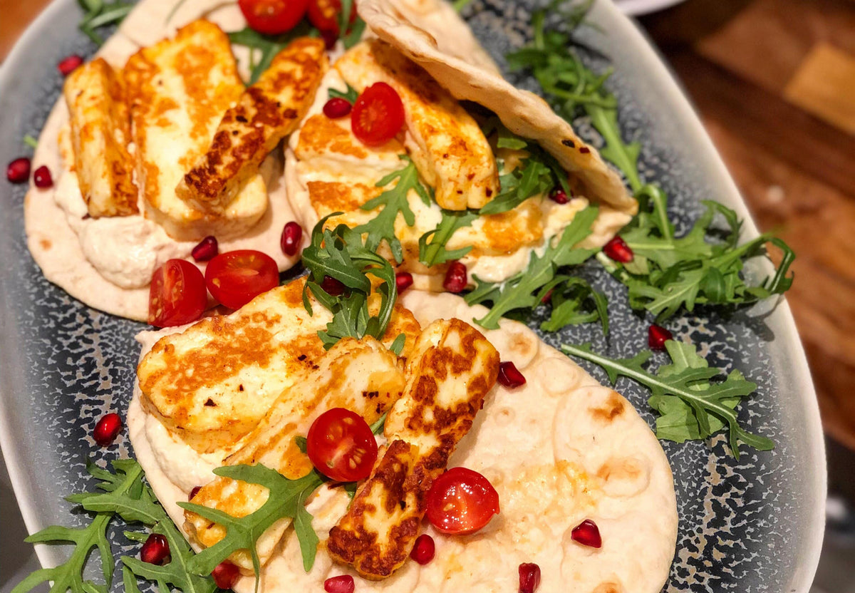 Halloumi, hummus and pomegranate gluten free flat breads