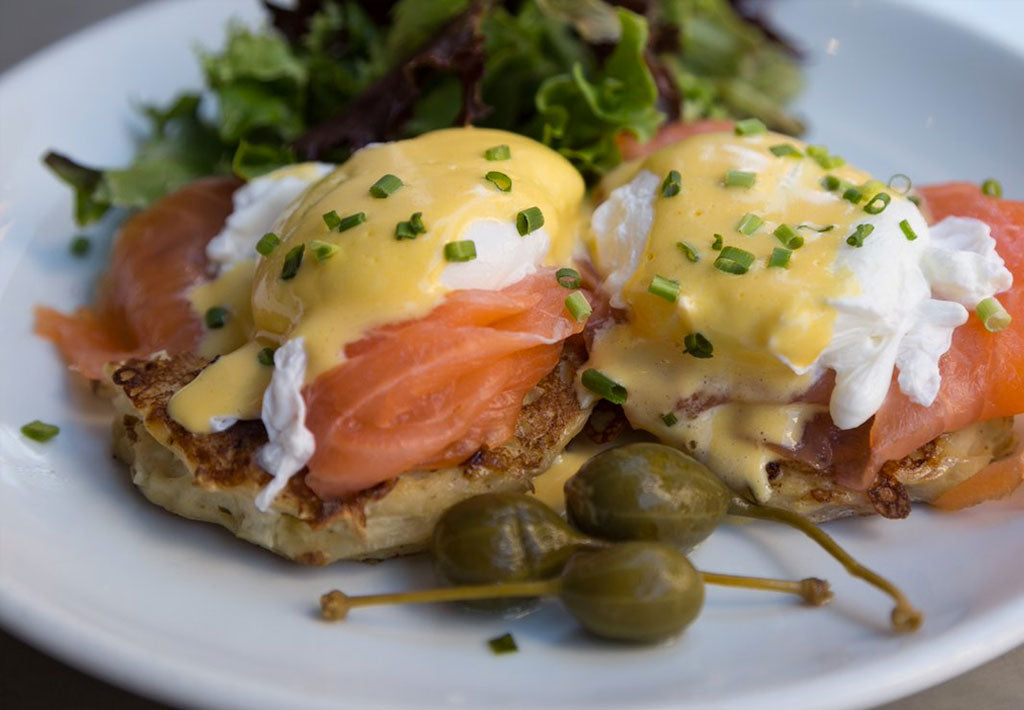 Potato Rosti with Smoked Salmon and Poached Eggs Recipe