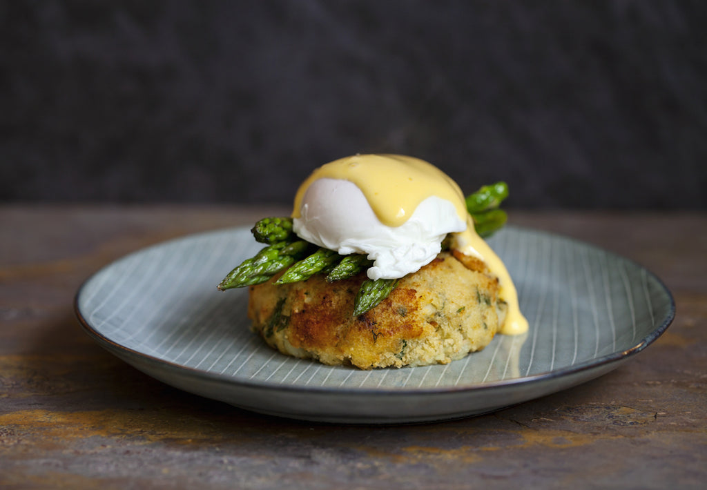 Gluten Free Salmon Fish Cakes with Egg, Asparagus & Hollandaise Recipe