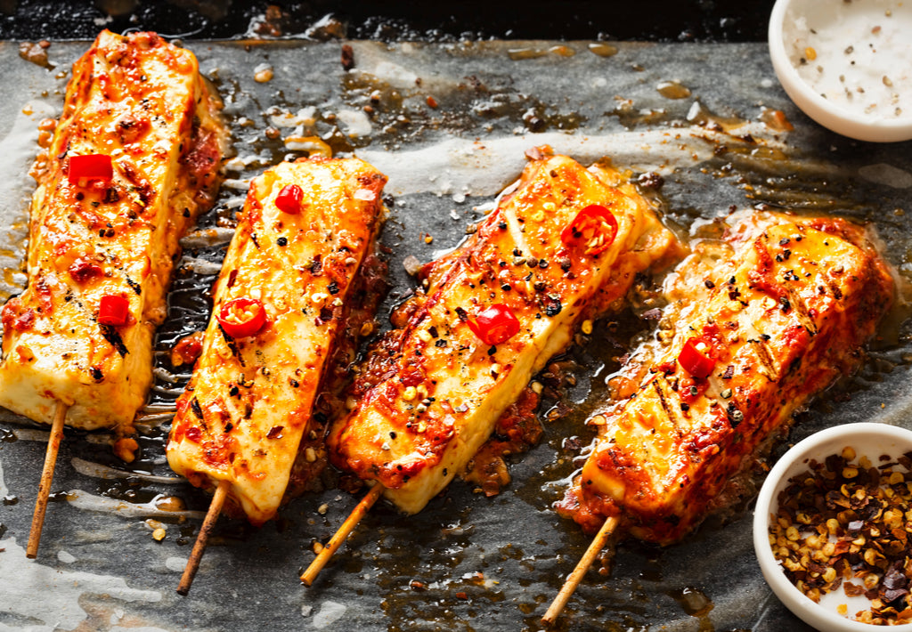 Gluten Free Spicy & Sticky Halloumi Skewers Recipe