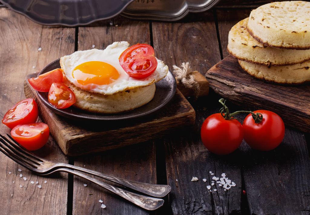 Gluten Free Toasted Crumpets with Fried Egg and Cherry Tomatoes