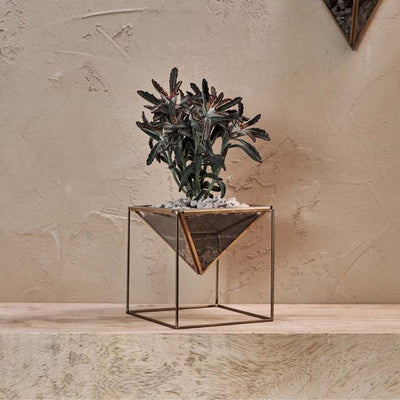 Karana Planter On Stand - Antique Brass