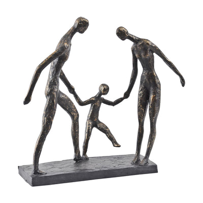 Libra Interiors Antique Bronze Family Of Three Holding Hands Sculpture