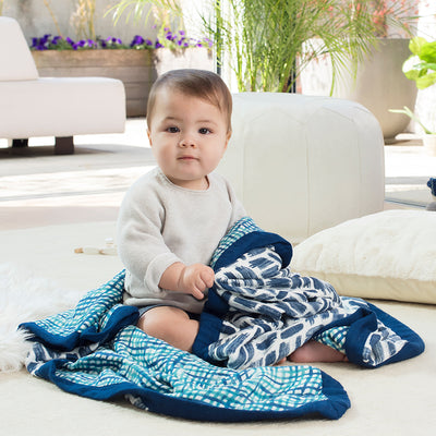 Aden & Anais Blue Silky Soft Blanket - Fly Jesse