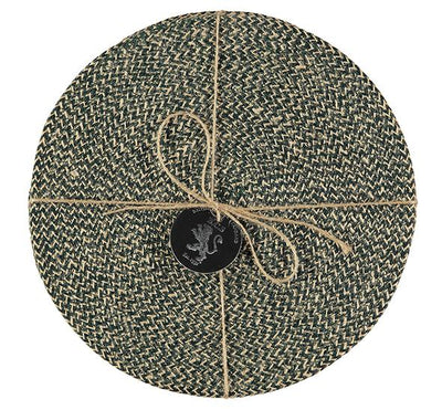 Jute Placemats In Olive Green Natural, Tied Set Of 4 - Fly Jesse- Unique, special and quality gifts