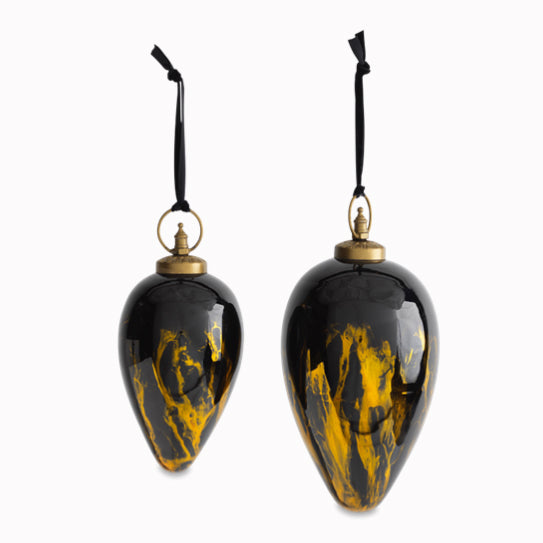 Nkuku Danoa Giant Bauble Drop - Amber & Black - Fly Jesse- Unique, special and quality gifts