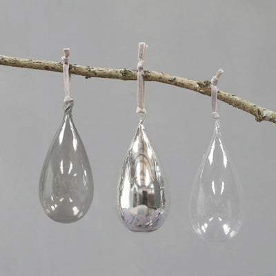Nkuku Tikari Glass Baubles Drops - Set of 3