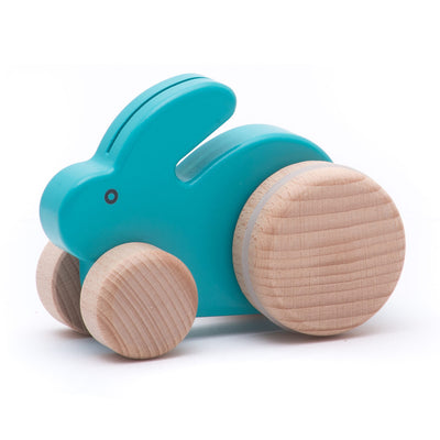 Bajo Small Blue Wooden Push Along Rabbit