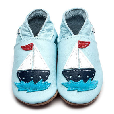 Inch Blue Baby Blue Sail Boat Shoes - GRIPZ Rubber Soul
