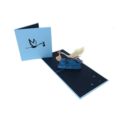 Stork Delivering A New Baby Boy Pop Up Card - Fly Jesse- Unique, special and quality gifts