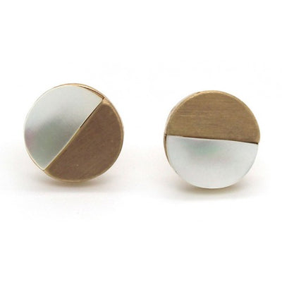 Mother of Pearl With Brushed Round Stud Earrings In Gold - Fly Jesse- Unique, special and quality gifts