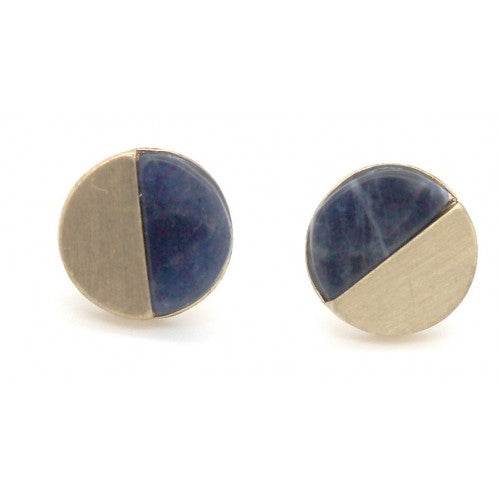 Navy Stone With Brushed Round Stud Earrings In Gold - Fly Jesse- Unique, special and quality gifts