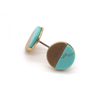 Turquoise Stone With Brushed Round Stud Earrings In Gold - Fly Jesse- Unique, special and quality gifts