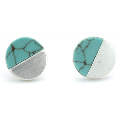 Turquoise Stone With Brushed Round Stud Earrings In Silver - Fly Jesse- Unique, special and quality gifts