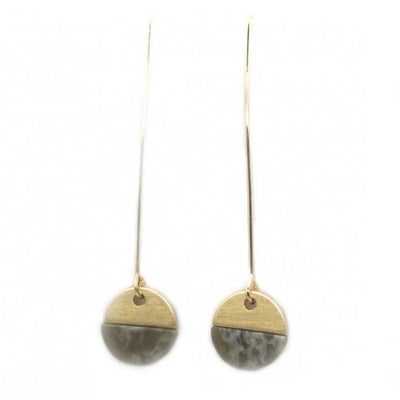 Grey Shell With Brushed Metal Hoop Earrings In Gold - Fly Jesse- Unique, special and quality gifts