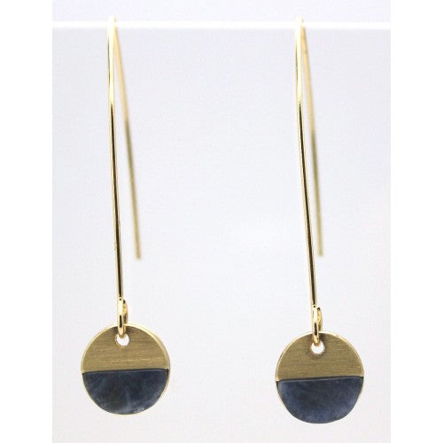 Navy Stone With Brushed Metal Hoop Earrings In Gold - Fly Jesse