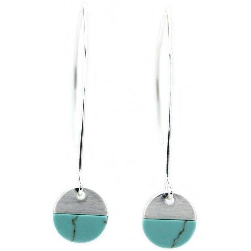 Turquoise Stone With Brushed Metal Hoop Earrings In Silver - Fly Jesse- Unique, special and quality gifts