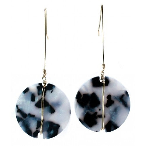 Round Shape Matte Resin Earrings Black & White in Gold - Fly Jesse- Unique, special and quality gifts
