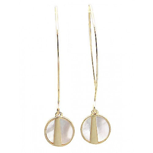 Small Round Brushed Metal Mother of Pearl Long Hoop Earrings In Gold - Fly Jesse- Unique, special and quality gifts