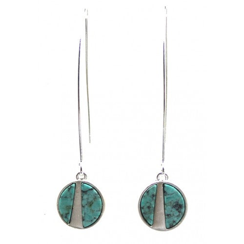 Small Round Brushed Metal Turquoise Long Hoop Earrings In Silver - Fly Jesse- Unique, special and quality gifts