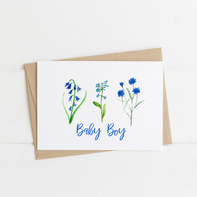 Watts Illustration Baby Boy Flowers Card - Fly Jesse- Unique, special and quality gifts