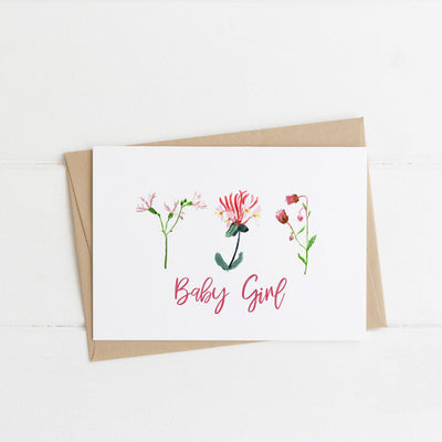 Watts Illustration Baby Girl Flowers Card - Fly Jesse- Unique, special and quality gifts