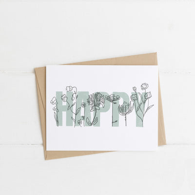 Watts Illustration Happy Flowers Card - Fly Jesse- Unique, special and quality gifts