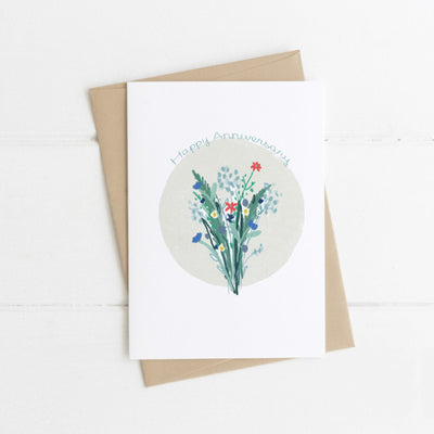 Watts Illustration Happy Anniversary Flowers Card - Fly Jesse- Unique, special and quality gifts