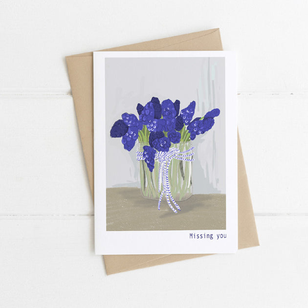 Watts Illustration Missing You Purple Flowers Card - Fly Jesse- Unique, special and quality gifts