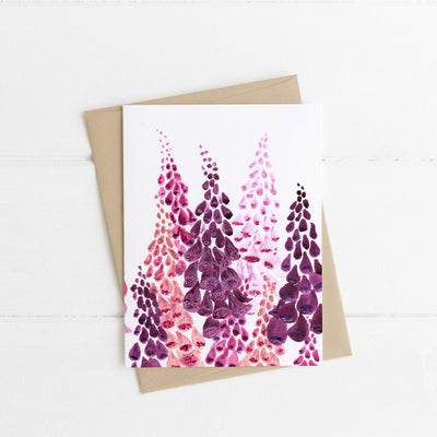 Watts Illustration Purple & Pink Flowers Card - Fly Jesse- Unique, special and quality gifts