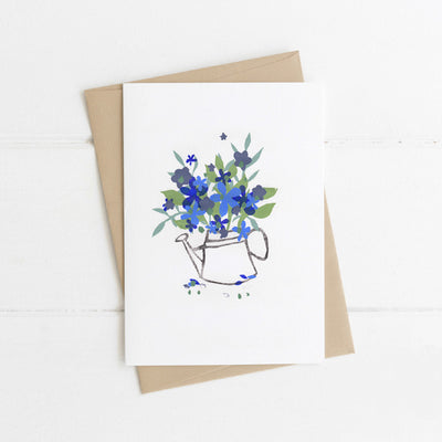 Watts Illustration Watering Can with Blue Flowers Card - Fly Jesse- Unique, special and quality gifts