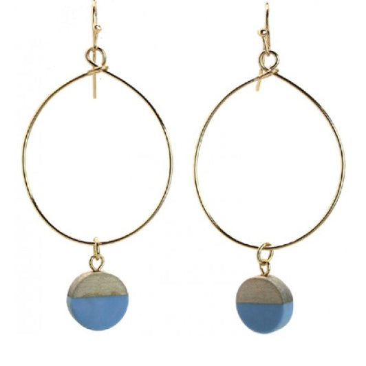 Round Shape Blue Resin & Wood Hope Earrings - Fly Jesse