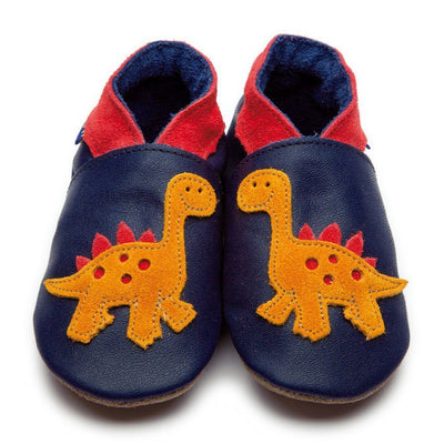 Inch Blue Navy Dinosaur Shoes - GRIPZ Rubber Soul