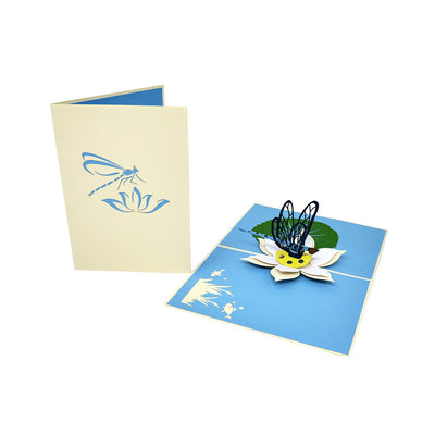 Dragonfly on a Lotus Flower Pop Up Card