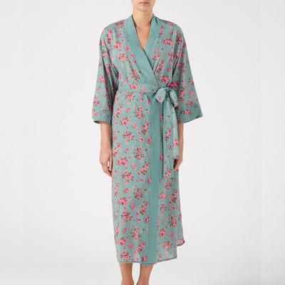 Long Kimono in Rambling Rose Dusky Blue, Cotton
