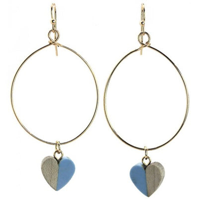 Heart Shape Blue Resin & Wood Earrings
