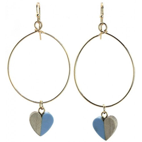 Heart Shape Blue Resin & Wood Earrings - Fly Jesse- Unique, special and quality gifts
