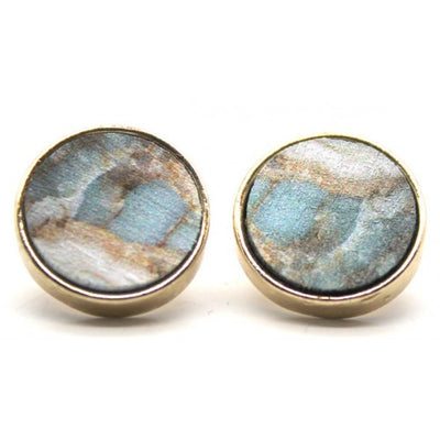 Round Printed on the Wood Stud Earrings - Ivory Blue