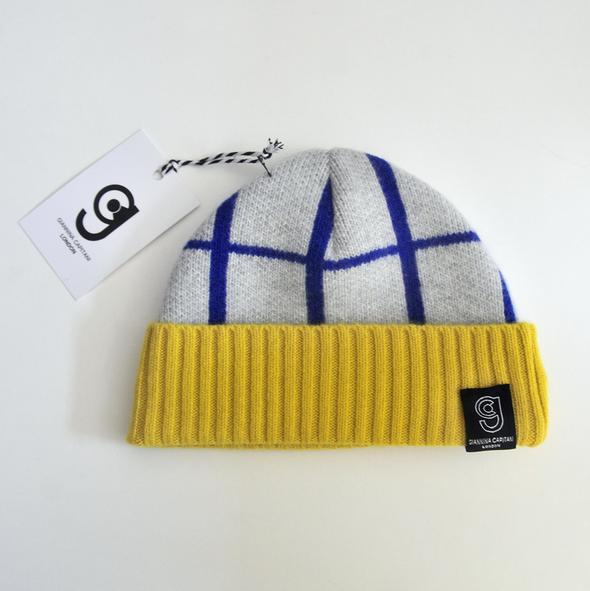 Giannina Capitani Grid Baby Hat in Blue & Yellow