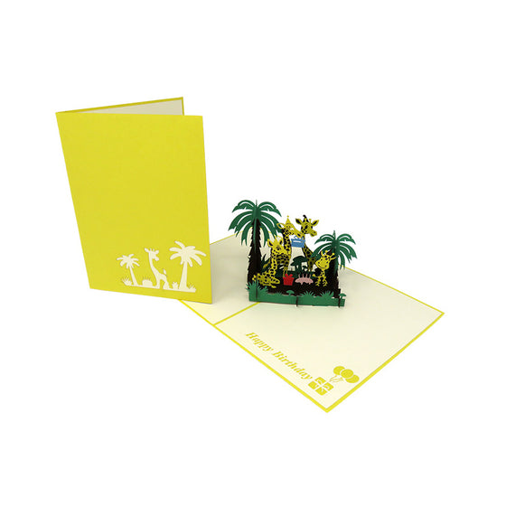 Giraffe Family in the Jungle Pop Up Card - Fly Jesse- Unique, special and quality gifts