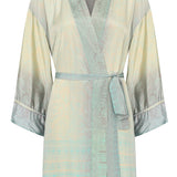 Long Kimono/Dressing Gown in Henna Green, Silk - Fly Jesse- Unique, special and quality gifts