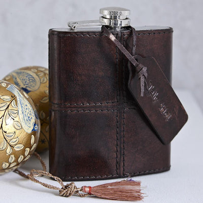 Leather Hip Flask - Dark Brown - Fly Jesse- Unique, special and quality gifts