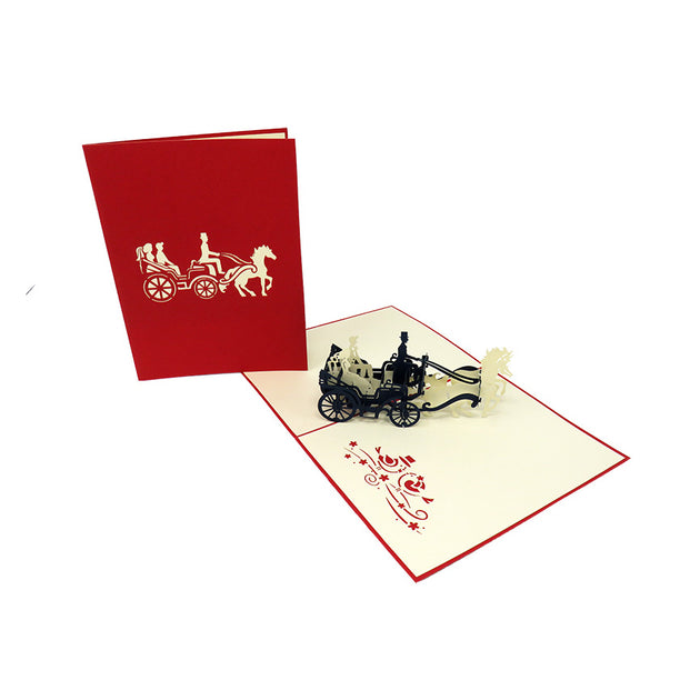 Bride & Groom in a Horse Drawn Carriage Pop Up Card - Fly Jesse- Unique, special and quality gifts
