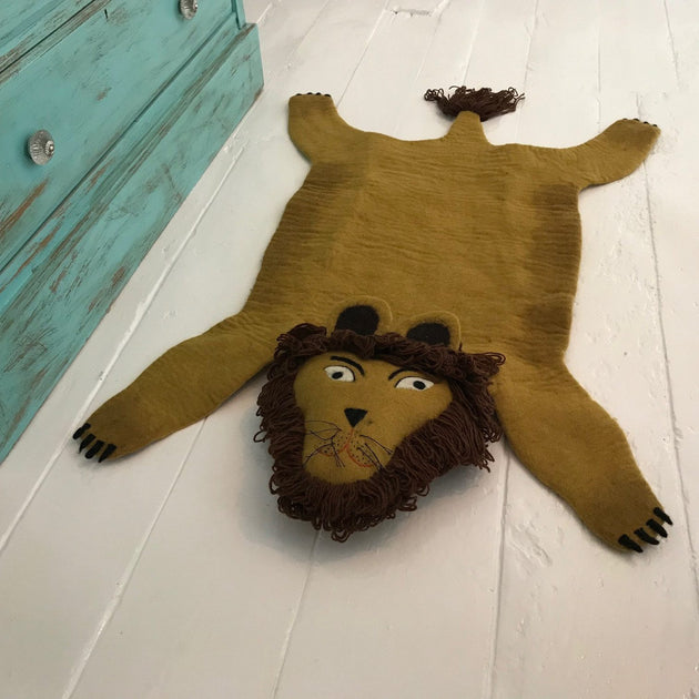 Simba The Handmade Lion Felted Rug - Fly Jesse- Unique, special and quality gifts