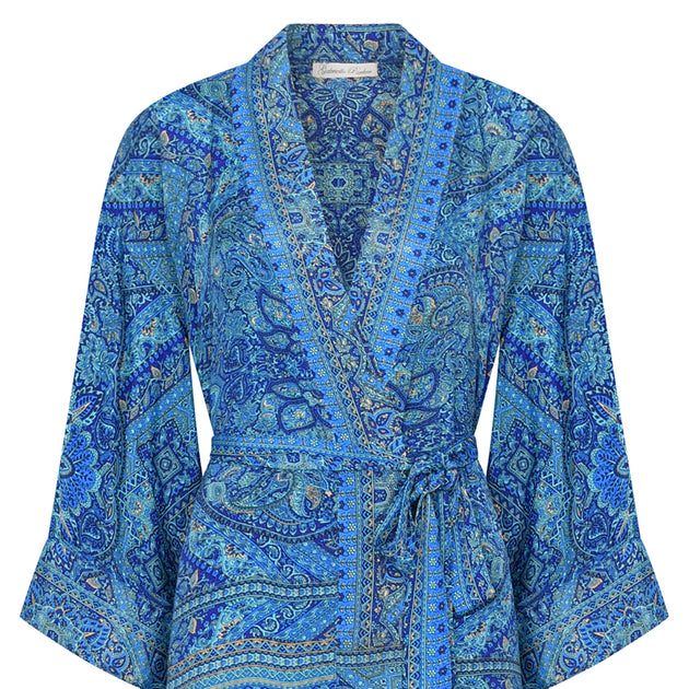 Long Kimono/Dressing Gown in Moroccan Blue, Silk - Fly Jesse- Unique, special and quality gifts